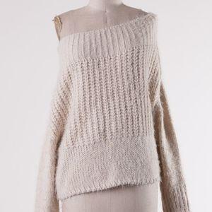 AIKO Off Shoulder Knit Sweater - CREAM